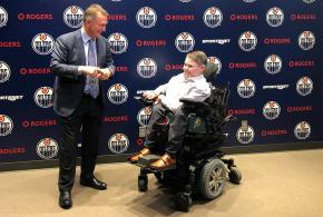 Owen McGonigal with Oilers GM